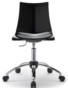 Zebra, Drehbarer und verstellbarer Metallstuhl, Sitzschale aus Polycarbonat