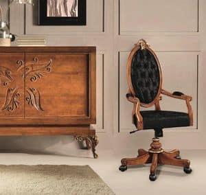 Art. 525g, Klassischer Bürostuhl mit Rädern und Rückenlehne capitonnè