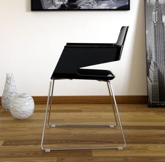 B32 SL, Moderner Stuhl, mit Nylon- Sitz und Rückenlehne, auf Kufen