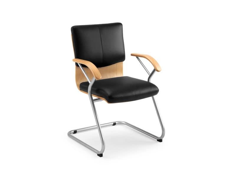 Ducale Lux guest 46340, Bürostuhl mit Holzschale und Lederpolsterung