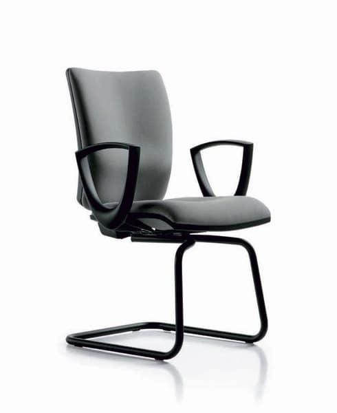 Five Besucher, Stuhl aus Metall, mit Schlittenrahmen, für Call-Center