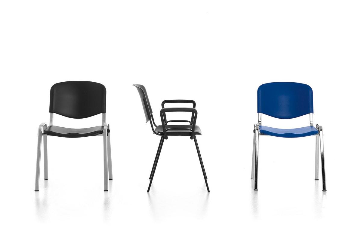 Leo 03, Metallstuhl, Sitz und Rückenlehne aus Polypropylen