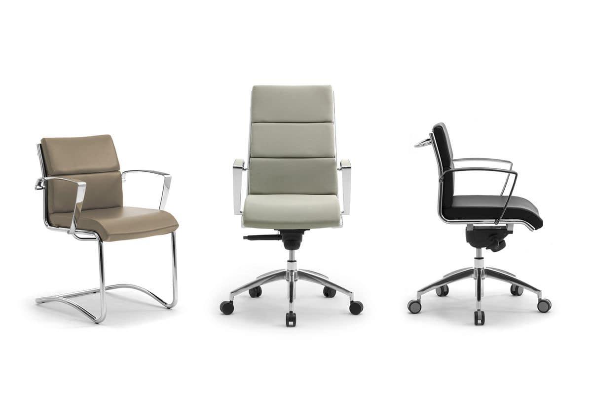 Gepolsterter Stuhl mit Rollen für Büro | IDFdesign