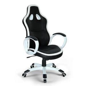 Poltrona gaming ufficio ecopelle sedia – SU035RAC, Sportlicher Bürostuhl, stabil und komfortabel