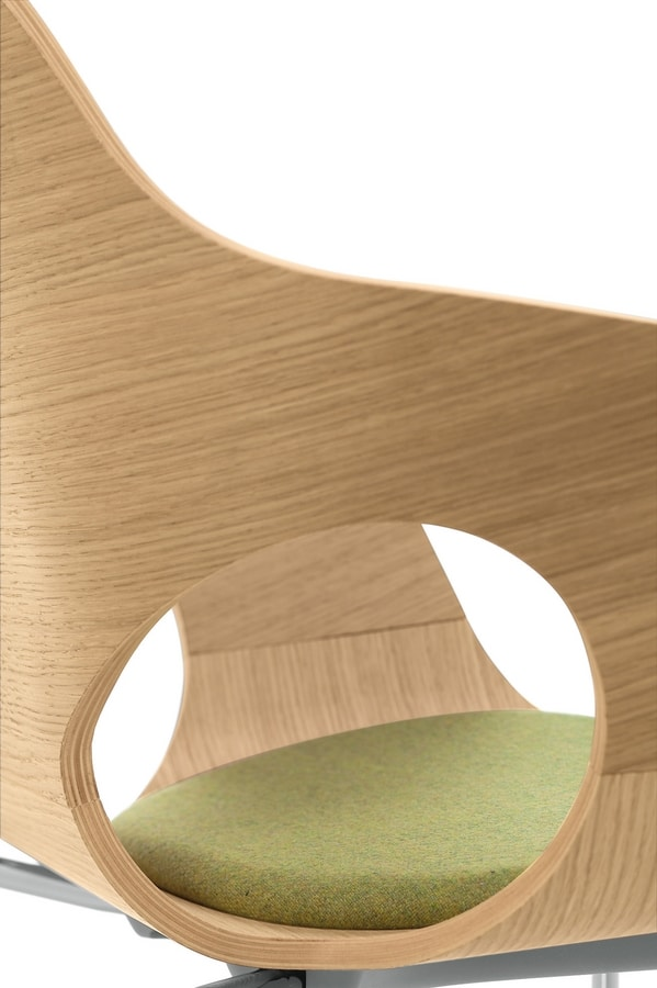 Spark Wood 02, Drehstuhl mit Gasfeder, Holzschale