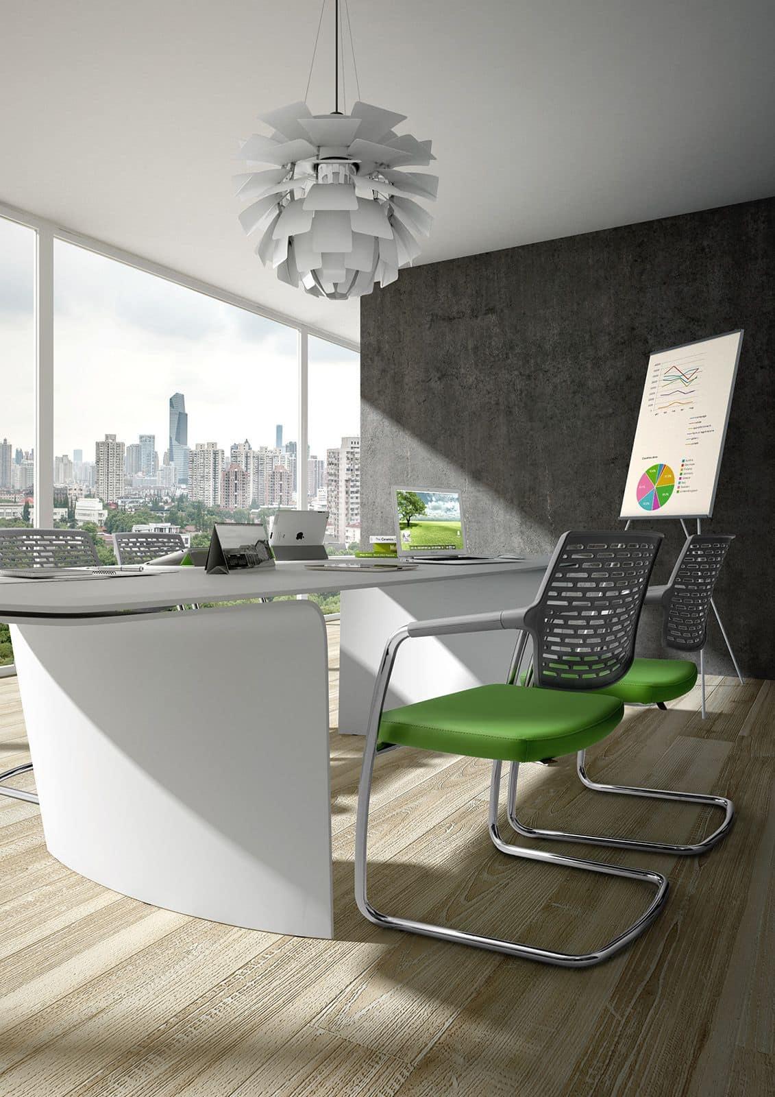 Spot 0570, Bürostuhl mit Kufen, Rückenlehne in Maschen