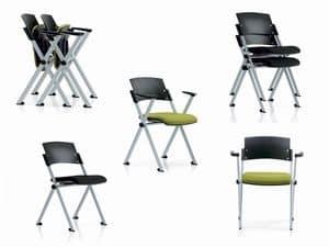 Zeta, Stuhl für Gemeinschaft, mit lackiertem Stahl Beine