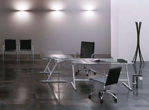 Drive, Designer Tisch für das Büro, unedlen Metallen, Glas