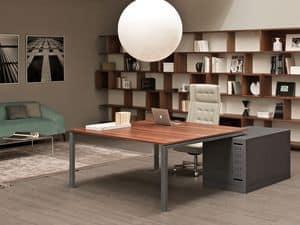 Asterisco In direzionale, Schreibtische in Metall und Holz, ideal für Chefbüros