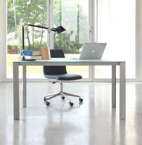 dl80 lugano, Schreibtisch Tisch aus Aluminium mit Glasplatte