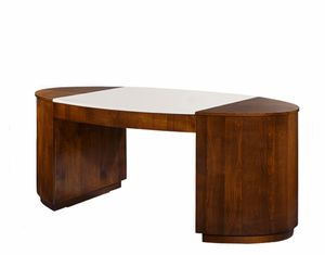 Hector Schreibtisch, Schreibtisch mit Lederoberteil