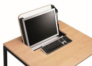 KUDOS 974, Einziehbare PC-Speichertabelle, in Metall und Laminat
