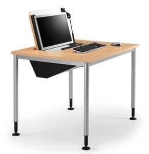 SYSTEM 789, Tisch mit den Füßen verstellbar, einziehbare PC-Speicher