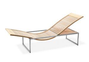 Chaise longue Sauna Vita, Chaiselongue für die Saunalandschaft, in Buche und Stahl