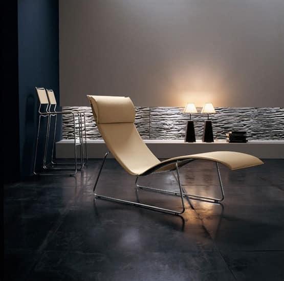 Relax CU, Lounge-Sessel aus verchromtem Metall, Lederbezug