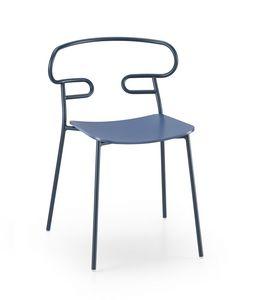 ART. 0047-MET -GENOA, Stuhl mit Holzsitz und perforiertem Rücken