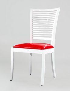BS220S - Stuhl, Holzstuhl mit Ledersitz