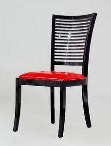 BS220S - Stuhl, Stuhl mit Rückenlehne mit horizontalen Lamellen