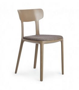 Canova, Stuhl aus Polypropylen mit gepolstertem Sitz