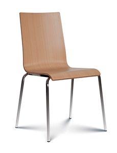 Caprice Holz, Stapelbarer Stuhl mit Sitz und Rückenlehne aus Holz