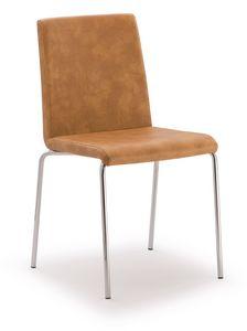 SE 510, Stuhl aus verchromtem Metall mit Kunstleder bezogen