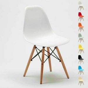 Stühle DSW WOODEN Eames Design Küche Bar Wartezimmer und Büro Holz Polypropylen - SD638PP, Stuhl aus Polypropylen mit Beinen aus Holz