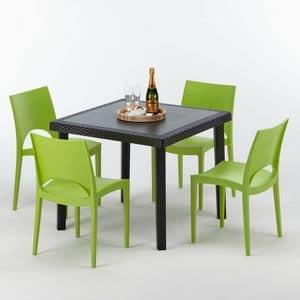 Gartenmöbel Tisch und Stühlen Rattan Garten - S7090SETA4, Rattan Tisch, für Bar im Freien