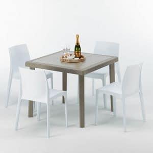 Gartenmöbel Tisch und Stühlen – S7090SETJ4, Poly Rattan Couchtisch, stabil, hergestellt in Italien