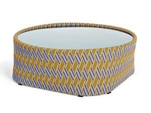 Kente tavolino, Runder Tisch für den Außenbereich, gewebt, mit Glasplatte