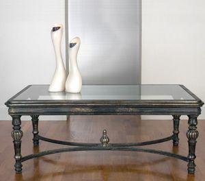 Art. 20496, Klassischer Couchtisch für Wohnzimmer, mit Glasplatte