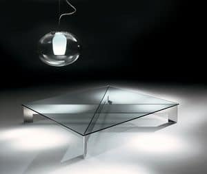 Bridge 1, Stahl Couchtisch mit Klarglas