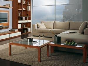Complementi Tavolino Vetro 02, Couchtisch aus Holz und Glas, für Mittelhalle