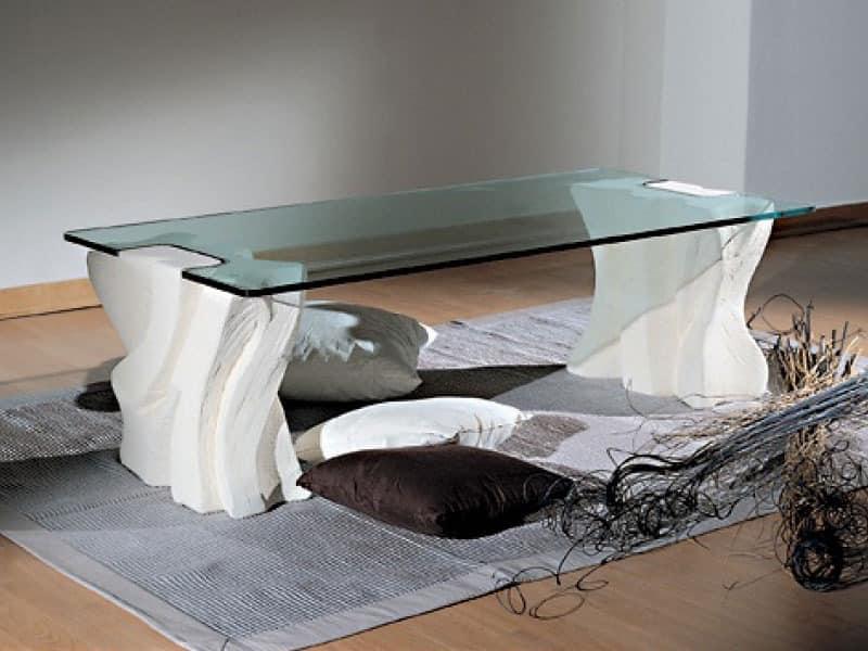 Contrasto Sagomato, Elegante Couchtisch für Wohnzimmer, Stein und Glas
