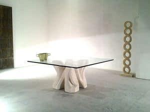 Dadà, Couchtisch in Stein gehauenen, mit Glasplatte für Wohnzimmer