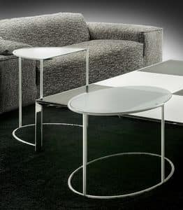 Eggs, Ovale Couchtisch aus Stahl und Glas, für stilvolle Lounges