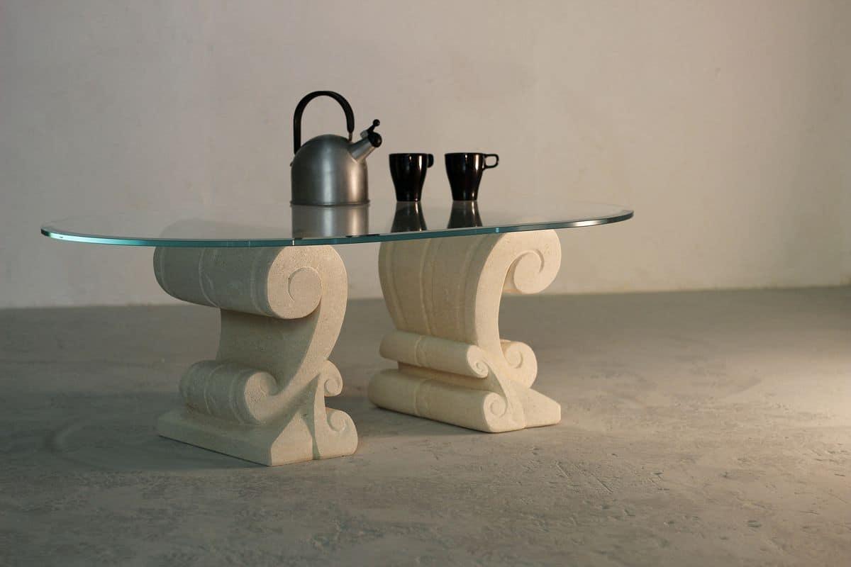 Eliseo, Kaffeetisch mit doppeltem Boden in Stein von Hand geschnitzt