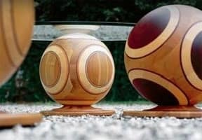 Giove, Maple eingelegten Tisch, Glasplatte