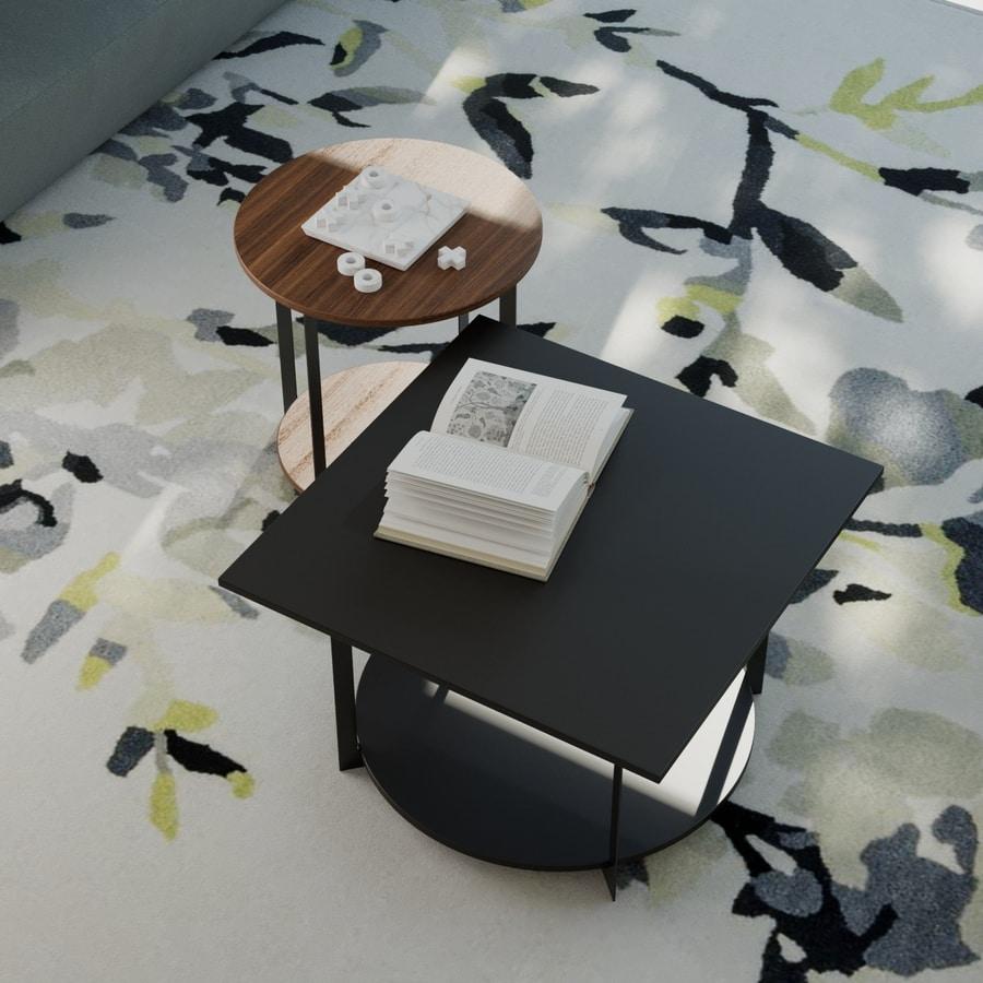 ICS quadriert, Eleganter Tisch mit Quadratplatte, aus Holz und Metall