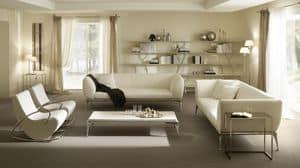 Iseo Couchtisch, Tisch für Mittelhalle, in Aluminium und beschichtetem Holz