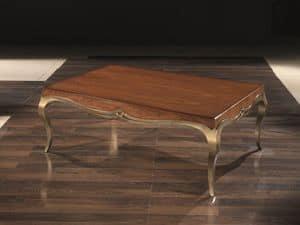 LOVE kleinen tisch 8679T, Rechteckiger Couchtisch aus Massivholz, für Wohnräume