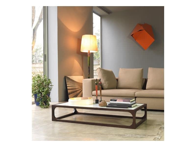 Couchtisch aus Massivholz mit Tischplatte aus Glas | IDFdesign