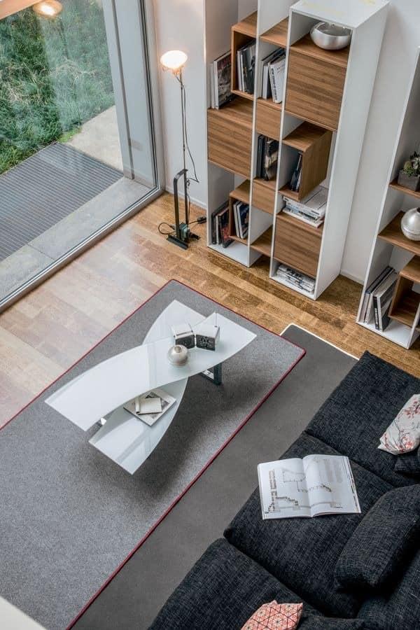 MISSOURI, Tisch Mitte Halle, Glasböden, Metallsockel