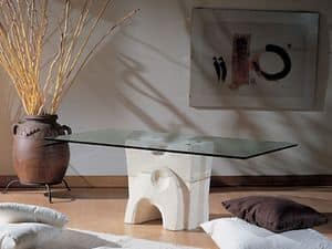 Pesceluna, Couchtisch mit Glasplatte durch Flansche gebunden
