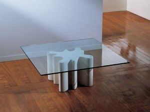 Splash, Couchtisch mit Basis aus Stein, oben in Glas