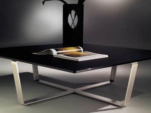 Sushi low table 2, Quadratischen Couchtisch mit Stahlgestell in Form des Kreuzes