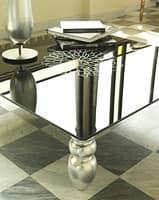t113 decor, Couchtisch mit Massivholzfüßen, Glasplatte
