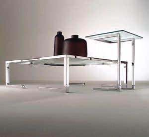 Tempura, Couchtisch für moderne Wohnzimmer, aus verchromtem Stahl und Glas