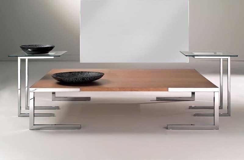 couchtisch f r moderne wohnzimmer aus verchromtem stahl und glas idfdesign. Black Bedroom Furniture Sets. Home Design Ideas