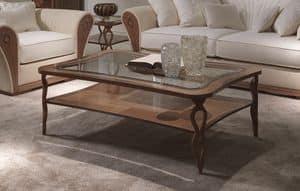 TL55 Charme kleiner Tisch, Rechteckiger Couchtisch, in eingelegtem Holz, mit Regal