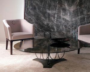 TL59B Moon kleiner Tisch, Couchtisch mit Bronze Glasplatte